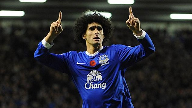 Marouane Fellaini celebrates scoring Everton's first goal against Sunderland on November 10 2012