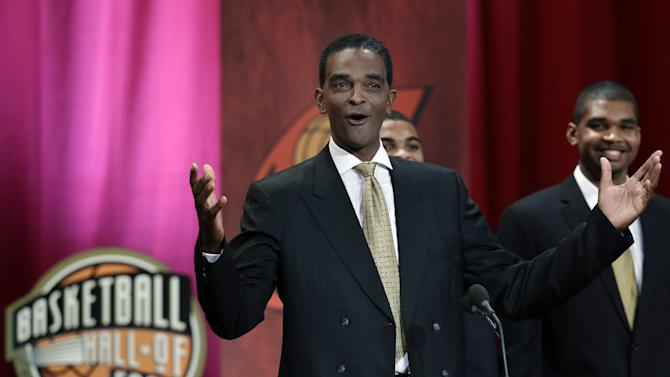 Inductee Ralph Sampson reacts as he speaks during the enshrinement ceremony for the 2012 class of the Naismith Memorial Basketball Hall of Fame at Symphony Hall in Springfield, Mass. Friday, Sept. 7, 2012. (AP Photo/Elise Amendola)