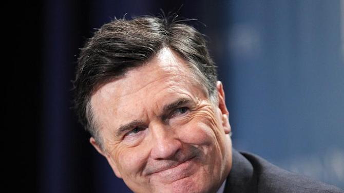 "Dennis Lockhart, President, Federal Reserve Bank of Atlanta, takes part in a panel discussion titled ""Twist and Shout: The Limits of U.S. Monetary Policy"" at the Milken Institute Global Conference in Beverly Hills, California"