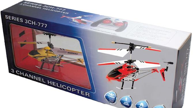 This image provided by the United States Consumer Product Safety Commission shows a remote-controlled Banshee 3 channel helicopter. The product is being recalled because the rechargeable battery inside the helicopters can overheat and ignite the helicopter, posing fire and burn hazards to consumers or nearby items. (AP Photo/U.S. Consumer Product Safety Commission)