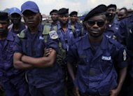 <p>DR Congo police participate in a registration excercise being carried out by the M23 rebels in Goma on November 22. The M23 called on members of the Congo police and military to register for re-training by its troops which is meant to integrate them into the rebel movement's new style of leadership even as the rebels, rejected international calls to pull out of Goma.</p>