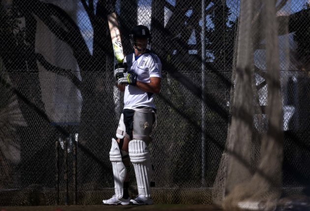England cricket team player Pietersen bats in the nets during a team training session in Wellington
