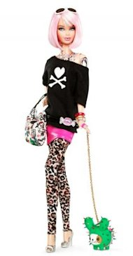 The limited-edition Barbie from Tokidoki has several tattoos on her body. Source: Mattel