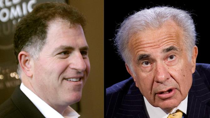 "FILE - Dell founder Michael Dell, left, in a Jan. 26, 2011 file photo, and Carl Icahn, in an Oct. 7, 2007 file photo, are seen in a combination photo. cahn is giving up his bitter takeover fight for Dell Inc. a few days before shareholders are scheduled to consider the latest buyout offer from the struggling computer maker's founder Michael Dell. Icahn said Monday, Sept. 9, 2013 in a letter to shareholders that he still thinks Michael Dell's bid to take his company private undervalues the business and freezes shareholders out of any future gains. But Icahn also said it would be ""almost impossible"" to defeat that offer in a vote scheduled for Thursday. (AP Photos/Virginia Mayo, Mark Lennihan, File)"