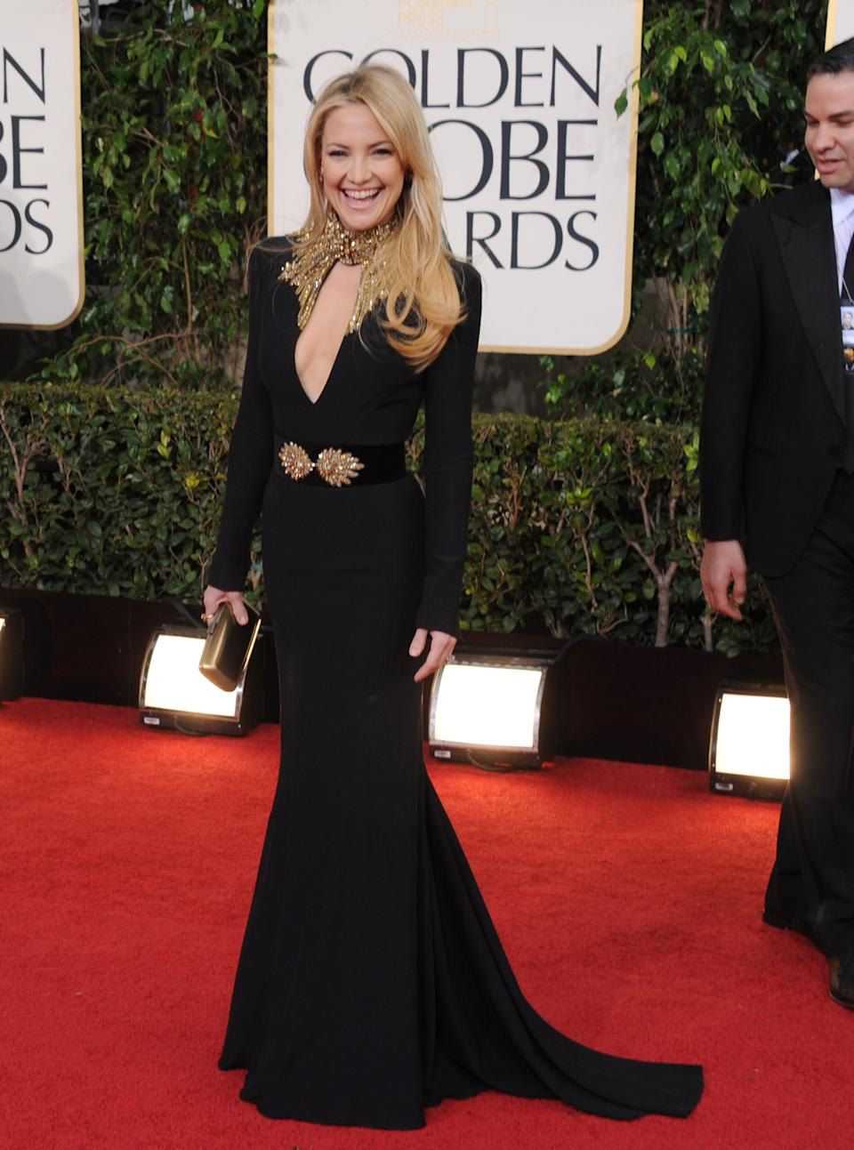 Actress Kate Hudson arrives at the 70th Annual Golden Globe Awards at the Beverly Hilton Hotel on Sunday Jan. 13, 2013, in Beverly Hills, Calif. (Photo by Jordan Strauss/Invision/AP)