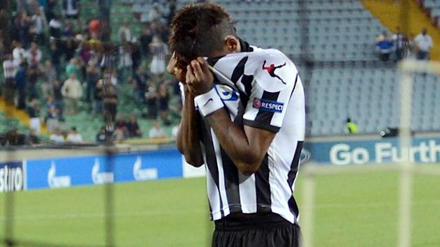 Udinese's Maicosuel reacts after his penalty miss puts Sporting Braga into the Champions League Group Stages (AP/LaPresse)