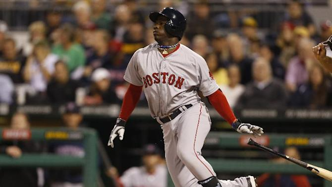 Boston Red Sox's Rusney Castillo bats against the Pittsburgh Pirates during the baseball game on Wednesday, Sept. 17, 2014, in Pittsburgh. (AP Photo/Keith Srakocic)