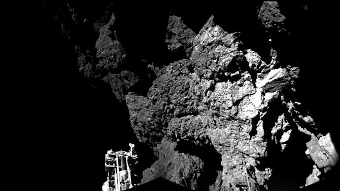 A picture released by the European Space Agency shows Philae's view of the cliffs at Abydos
