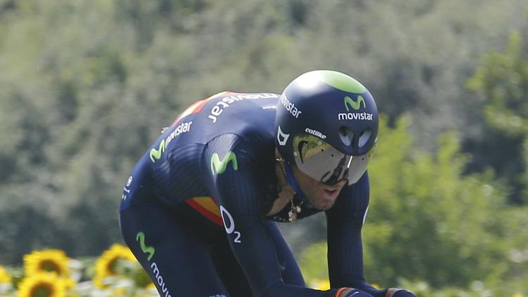 Movistar team rider Valverde of Spain cycles during the 54-km individual time trial 20th stage of the Tour de France cycling race from Bergerac to Perigueux