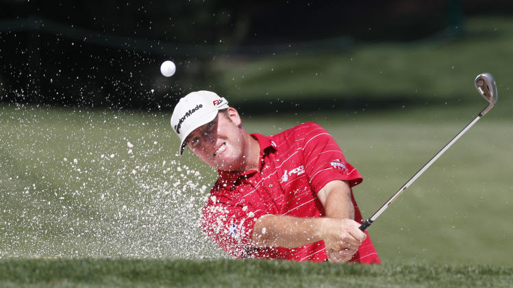 D.A. Points hits from a sand trap on the fifth hole during the first round of the Wells Fargo Championship golf tournament at Quail Hollow Club in Charlotte, N.C., Thursday, May 3, 2012. (AP Photo/Bob Leverone)