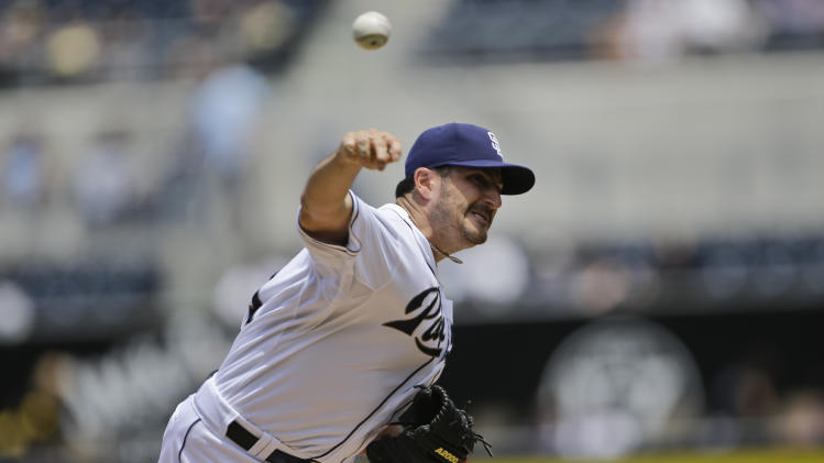 San Diego Padres starting pitcher Jason Marquis works against the Miami Marlins in the first inning of a baseball game in San Diego, Wednesday, May 8, 2013. (AP Photo/Lenny Ignelzi)