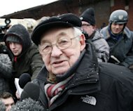 "Polish director Andrzej Wajda talk to journalists in Gdansk during the filming of ""Walesa"", a movie dedicated to the communist-era Solidarity opposition leader Lech Walesa who struggled for a democratic, independant Poland"