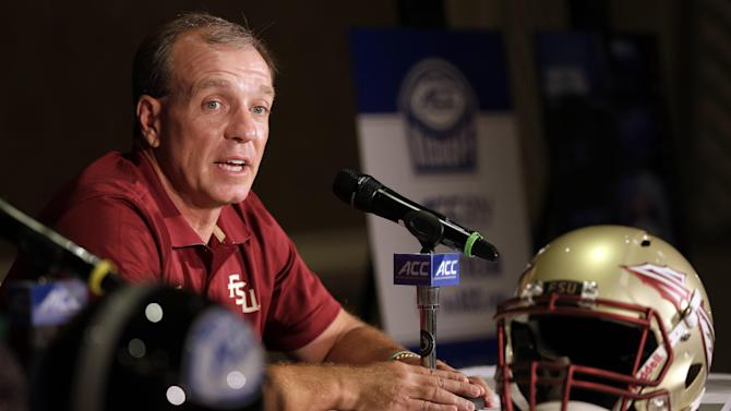 Florida State head coach Jimbo Fisher answers a question during a news conference at the Atlantic Coast Conference Football kickoff in Greensboro, N.C., Monday, July 21, 2014