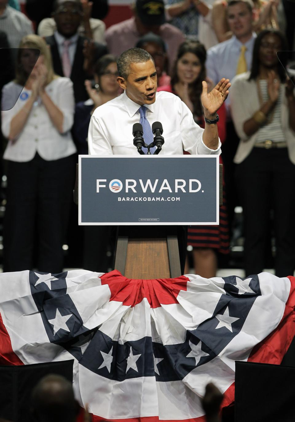 President Barack Obama campaigns Thursday, July 19, 2012, in Jacksonville, Fla. (AP Photo/John Raoux)