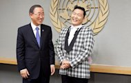 Psy Trades Praise With Secretary-General of United Nations