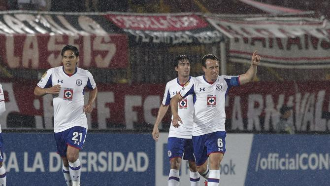 Torrado of Mexico's Cruz Azul celebrates his goal against Costa Rica's Liga Deportiva Alajuelense with his teammates during their CONCACAF Champions League soccer match in Alajuela City