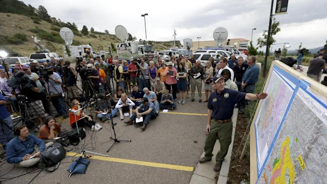 Rich Harvey, incident commander talks to the media during a news conference about Waldo Canyon wildfire in Colorado Springs, Colo., Thursday, June 28, 2012. (AP Photo/Chris Carlson)