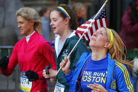 Runners compete in the Boston Athletic Association's 5K race in Boston