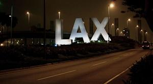 """""""LAX sign at the Century Boulevard entrance to Los Angeles International Airport"""""""