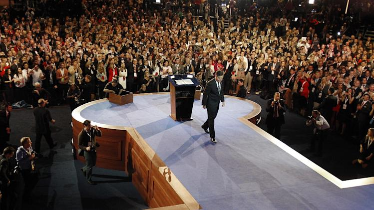 Republican presidential candidate and former Massachusetts Gov. Mitt Romney walks away from the podium after conceding the race during his election night rally, Wednesday, Nov. 7, 2012, in Boston. (AP Photo/Stephan Savoia, Pool)