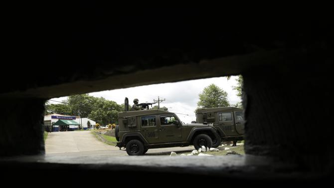 A Panama border police vehicle is seen during a media tour to different strategic police base points as part of a strategy to combat the war on drugs in the Darien province