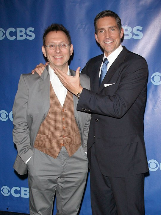 Michael Emerson and Jim Caviezel attend the 2011 CBS Upfront at The Tent at Lincoln Center on May 18, 2011 in New York City.