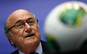 FIFA President Blatter addresses the media after a meeting of the executive committee in Zurich