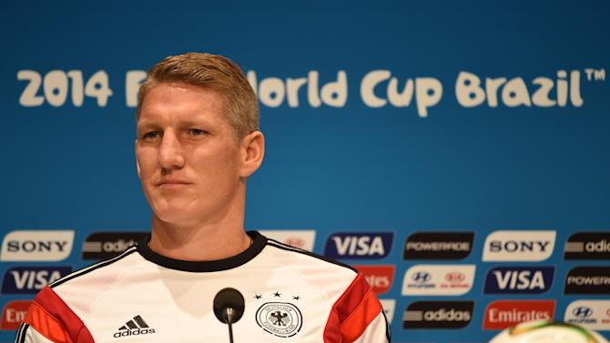 Germany's midfielder Bastian Schweinsteiger gives a press conference at the Maracana Stadium in Rio de Janeiro on July 12, 2014