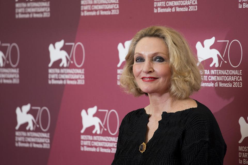 Author Robyn Davidson poses for photographers during a photo call for the film Tracks at the 70th edition of the Venice Film Festival held from Aug. 28 through Sept. 7, in Venice, Italy, Thursday, Aug. 29, 2013. (AP Photo/David Azia)