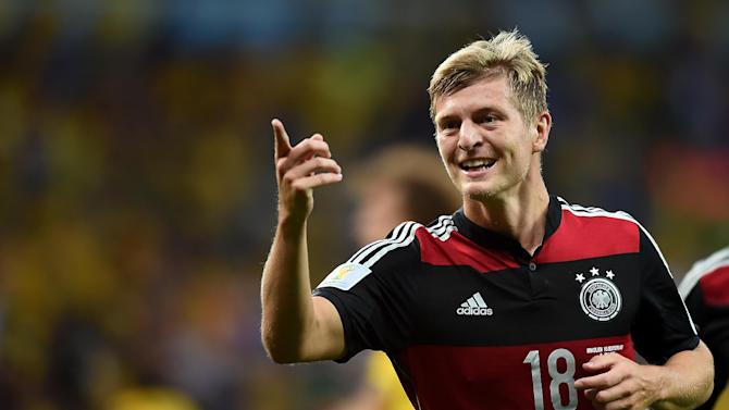 Germany midfielder Toni Kroos celebrates after scoring during the World Cup semi-final between Brazil and Germany at The Mineirao Stadium in Belo Horizonte on July 8, 2014