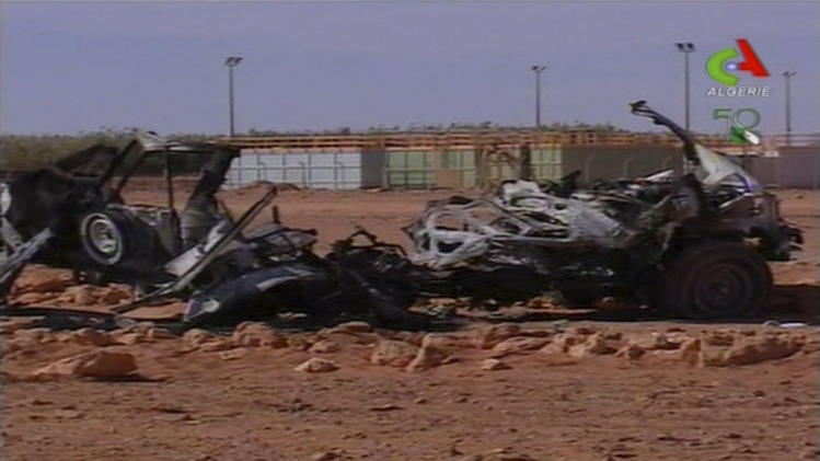 This image taken from Algerian TV broadcast on Sunday Jan. 20 2013, shows what it said to be the aftermath of the hostage crisis at the remote Ain Amenas gas facility in Algeria. Algerian special forces stormed the plant on Saturday to end the four-day siege, moving in to thwart what government officials said was a plot by the Islamic extremists to blow up the complex and kill all their captives with mines sown throughout the site. (AP Photo/Algerie TV via Associated Press TV)