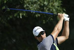 Henrik Stenson hits from the 10th tee during the BMW Championship golf tournament in Lake Forest, Illinois