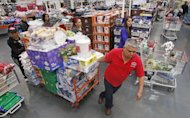 <p>               FILE - In this May 9, 2012 file photo, Antonio Moreno shops at a Costco Wholesale store, in Portland, Ore. U.S. wholesale businesses restocked faster in April, responding to a strong gain in sales. The Commerce Department says stockpiles grew 0.6 percent at the wholesale level in April, double the March gain. Sales by wholesale businesses jumped 1.1 percent in April, nearly three times the March sales gain. (AP Photo/Rick Bowmer, File)