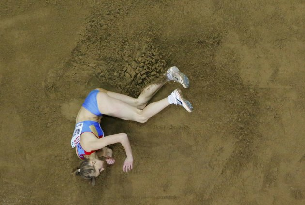 Mosina of Russia competes in the Triple Jump Women Final at the European Athletics Indoor Championships in Gothenburg