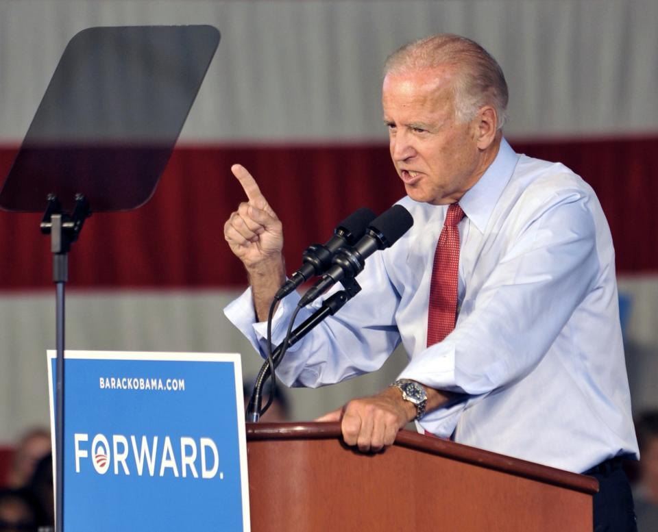 Vice President Joe Biden addresses a grassroots rally, Tuesday, Aug. 21, 2012, in Minneapolis. (AP Photo/Jim Mone)