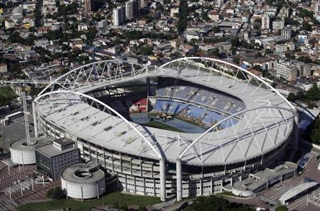 An aerial shot shows the Olympic Stadium, which is closed for repair works on its roof, in Rio de Janeiro