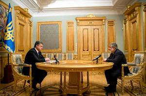 A picture taken and released by Ukrainian presidential…