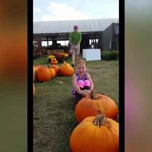 Father Returns from Afghanistan to Surprise Daughter at Pumpkin Patch