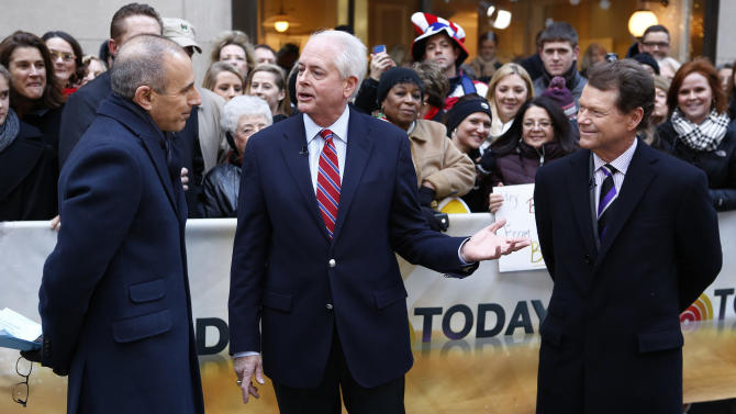 "This image released by NBC shows co-host Matt Lauer, left, with PGA of America president Ted Bishop, center and golfer Tom Watson on NBC News' ""Today"" show, Thursday, Dec. 13, 2012 in New York. Watson was announced as the captain for the U.S. Ryder Cup team.  (AP Photo/NBC, Peter Kramer)"