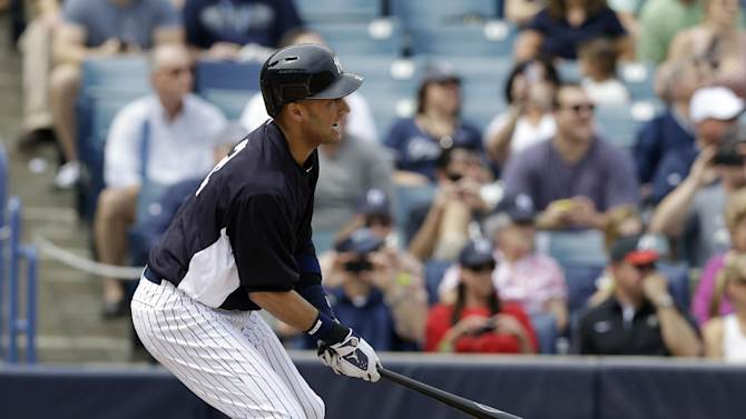 New York Yankees Derek Jeter reacts after connecting for a single during the first inning of a spring training baseball game against the Atlatna Braves at Steinbrenner Field in Tampa, Fla., Saturday, March 9, 2013. Jeter singled sharply to left field on his first pitch since breaking an ankle last fall in the AL championship series. (AP Photo/Kathy Willens)