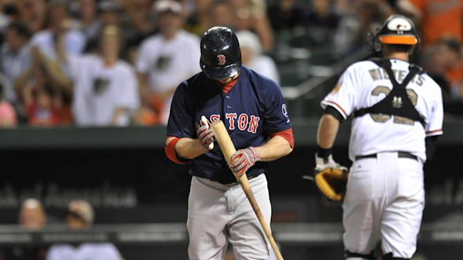 Boston Red Sox's Daniel Nava reacts after striking out against the Baltimore Orioles in the sixth inning of a baseball game, Friday, June 14, 2013, in Baltimore. The Orioles won 2-0. (AP Photo/Gail Burton)