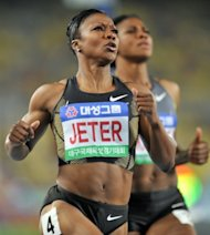 Carmelita Jeter of the US during the women's 100m event at the Daegu Championships Meeting on May 16. Jeter is among 40 world or Olympic champions competing in the Diamond League meet at Icahn Stadium in New York