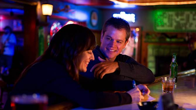 """This undated publicity film image provided by Focus Features shows Rosemarie DeWitt, left, as Alice and Matt Damon, as Steve, in Gus Van Sant's contemporary drama, """"Promised Land,"""" a Focus Features release. (AP Photo/Focus Features, Scott Green)"""