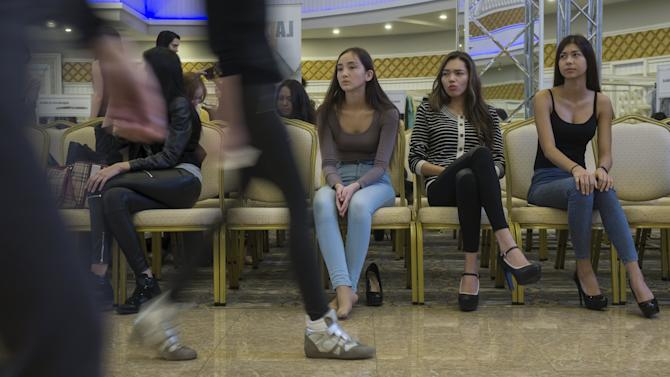 Models attend a rehearsal prior a show at Kazakhstan Fashion Week in Almaty, Kazakhstan