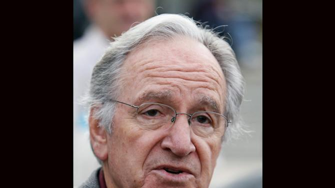 In this Monday, Oct. 25, 2010 photo, U.S. Sen. Tom Harkin, D-Iowa, speaks to reporters following a rally in support of three Iowa Supreme Court justices who are up for retention votes in the November election, in Des Moines, Iowa. Harkin says he will not seek re-election in 2014, The Associated Press reports Saturday, Jan. 26, 2013. (AP Photo/Charlie Neibergall)