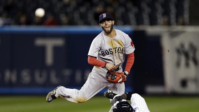 Boston Red Sox second baseman Dustin Pedroia (15) throws to first after New York Yankees' Francisco Cervelli, not shown, grounded into a force out during the ninth inning of their baseball game at Yankee Stadium in New York, Wednesday, April 3, 2013. Cervelli reached first on the play, but Eduardo Nunez (26) was out at second. The Red Sox won 7-4. (AP Photo/Kathy Willens)