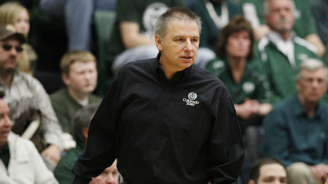 Colorado State head coach Larry Eustachy directs his team against New Mexico in the first half of an NCAA basketball game in Fort Collins, Colo., on Saturday, Feb. 23, 2013. (AP Photo/David Zalubowski)