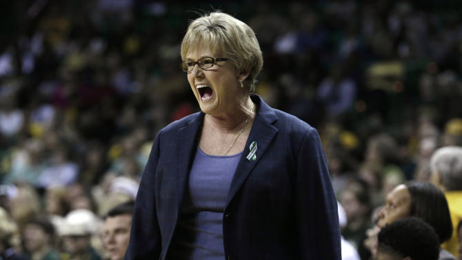 Tennessee coach Holly Warlick yells from the sidelines during the first half of an NCAA college basketball game against Baylor on Tuesday, Dec. 18, 2012, in Waco, Texas. (AP Photo/LM Otero)