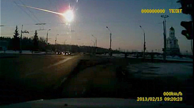 In this frame grab made from dashboard camera video, a meteor streaks through the sky over Chelyabinsk, about 1500 kilometers (930 miles) east of Moscow, Friday, Feb. 15, 2013. With a blinding flash a