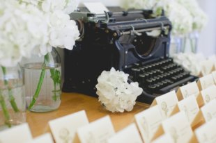 escort card display, vintage typewriter, rustic spring green wedding, Morrissey Photography